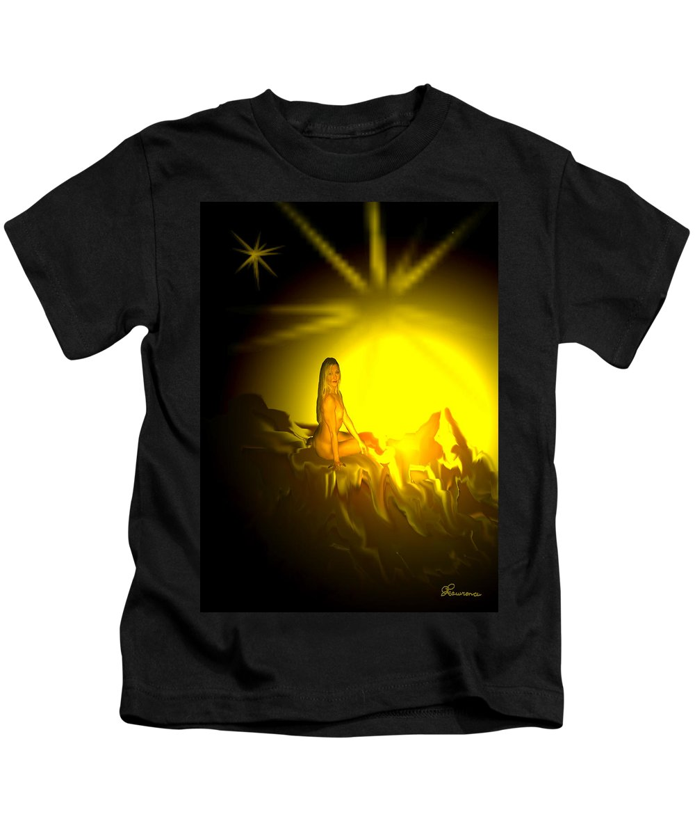 Nude Naked Sun Drawing Digital Mountain Earth Star Woman Kids T-Shirt featuring the digital art Gift Of Sun by Andrea Lawrence