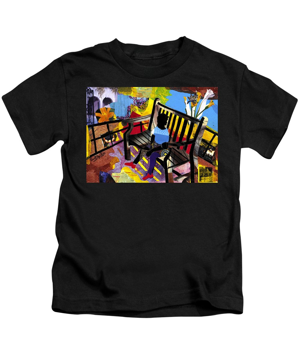 Everett Spruill Kids T-Shirt featuring the painting Girl In Red Shoes by Everett Spruill