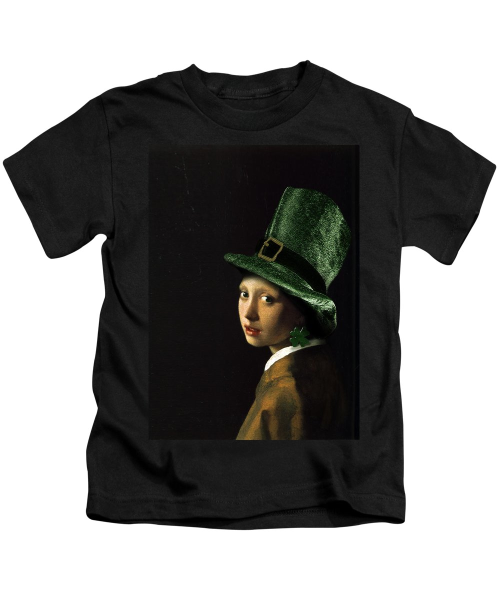Vermeer Kids T-Shirt featuring the painting Girl With A Shamrock Earring by Gravityx9  Designs
