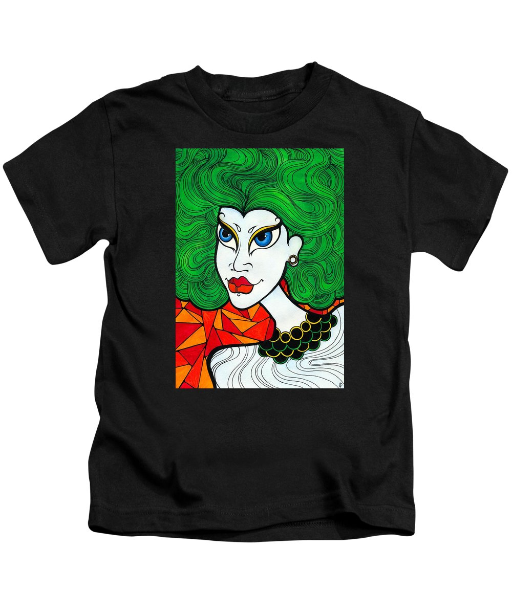 Woman Kids T-Shirt featuring the painting Girl With Lush Green Hair. by Darya Lavinskaya