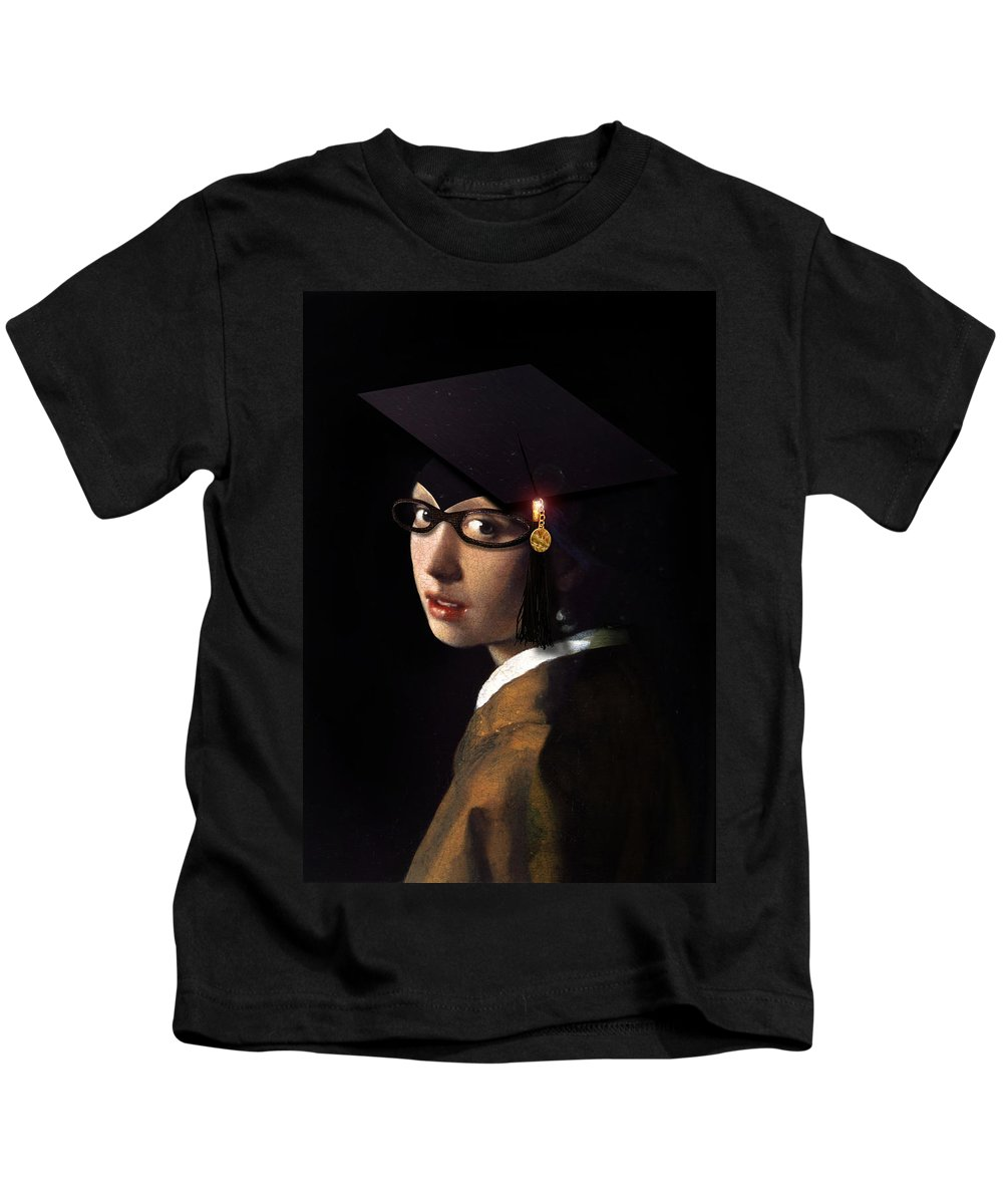 Vermeer Kids T-Shirt featuring the painting Girl With The Grad Cap by Gravityx9 Designs