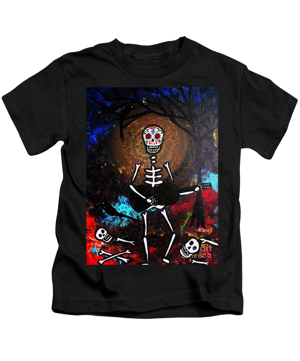Dia Kids T-Shirt featuring the painting Gitarero by Pristine Cartera Turkus