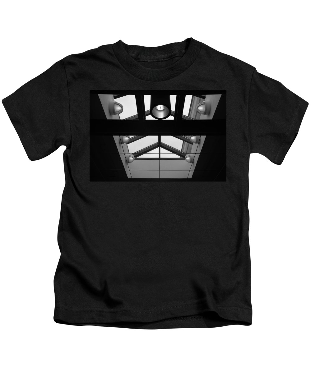 Black And White Kids T-Shirt featuring the photograph Glass Sky Lights by Rob Hans