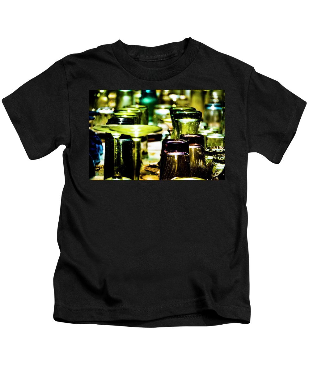 Colored Glass Kids T-Shirt featuring the photograph Glass Table by Ed Ostrander