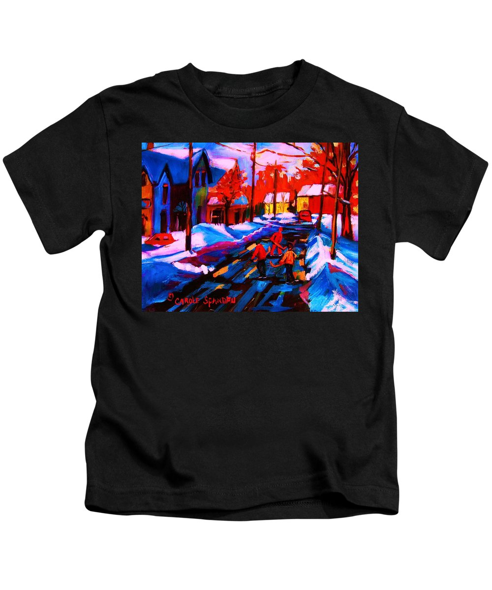 Streethockey Kids T-Shirt featuring the painting Glorious Day For A Game by Carole Spandau