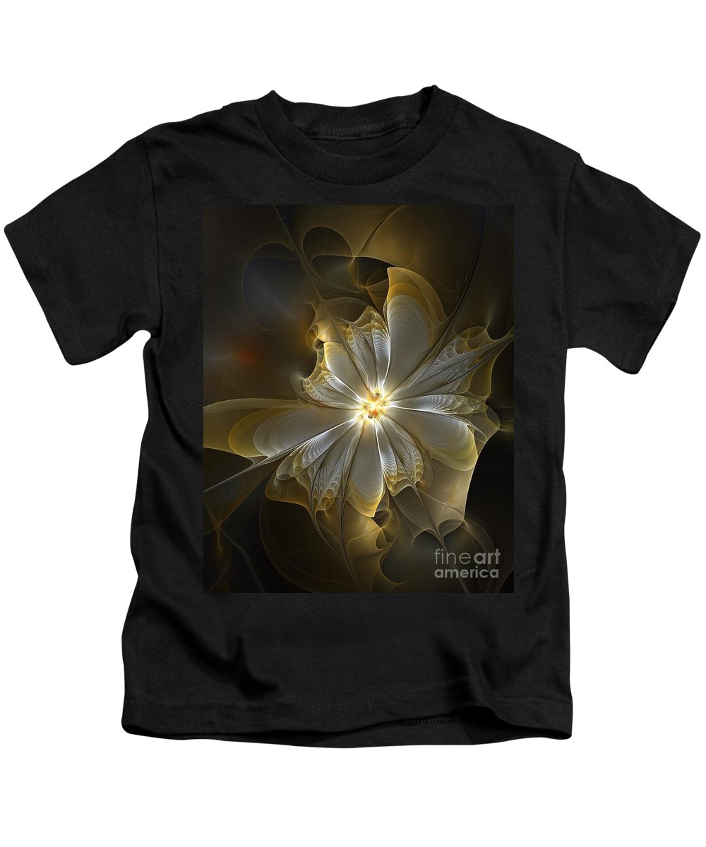 Digital Art Kids T-Shirt featuring the digital art Glowing In Silver And Gold by Amanda Moore
