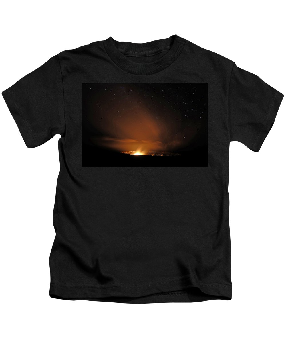Hawaii Kids T-Shirt featuring the photograph Glowing Volcanic Gasses by Randall Richards