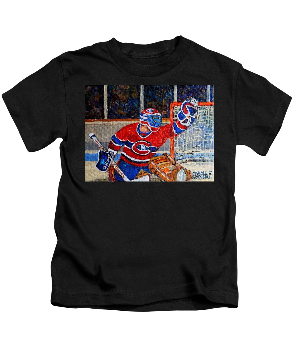 Hockey Kids T-Shirt featuring the painting Goalie Makes The Save Stanley Cup Playoffs by Carole Spandau