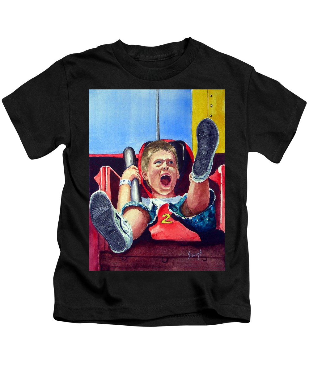 Boy Kids T-Shirt featuring the painting Goin' Down by Sam Sidders