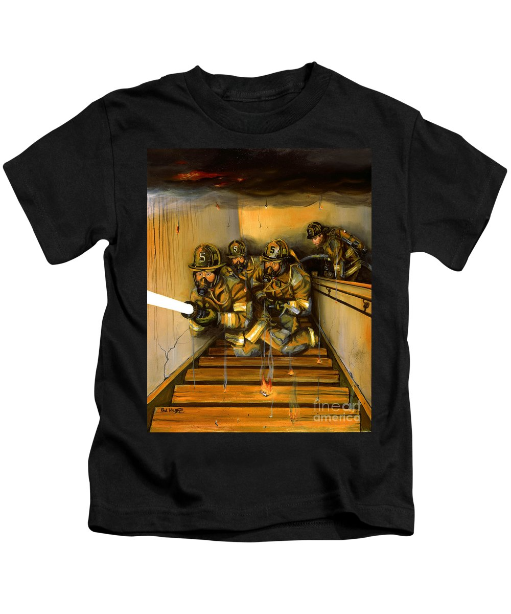 Fire Fighting Kids T-Shirt featuring the painting Goin' To Work by Paul Walsh