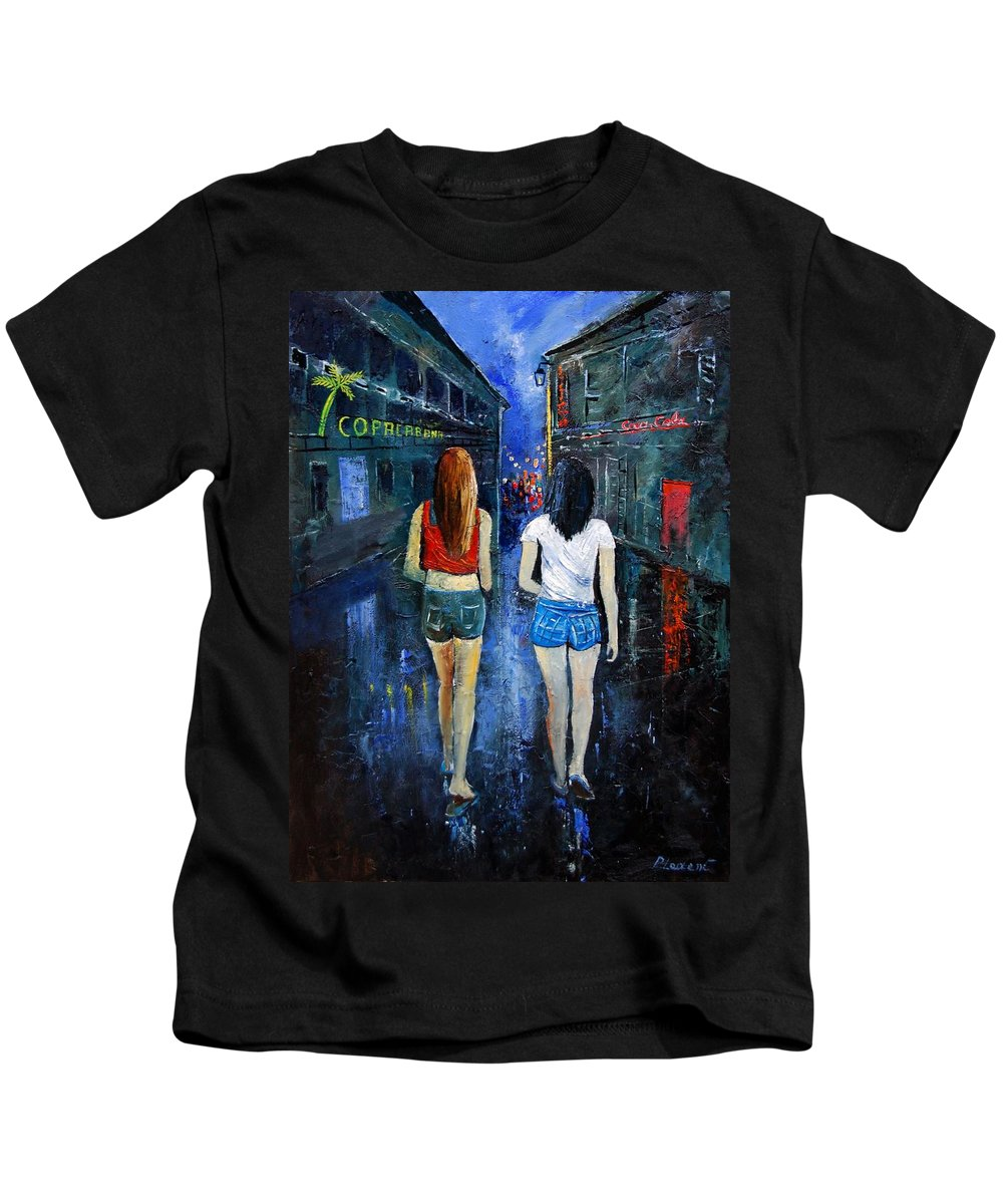 Girl Kids T-Shirt featuring the painting Going Out Tonight by Pol Ledent