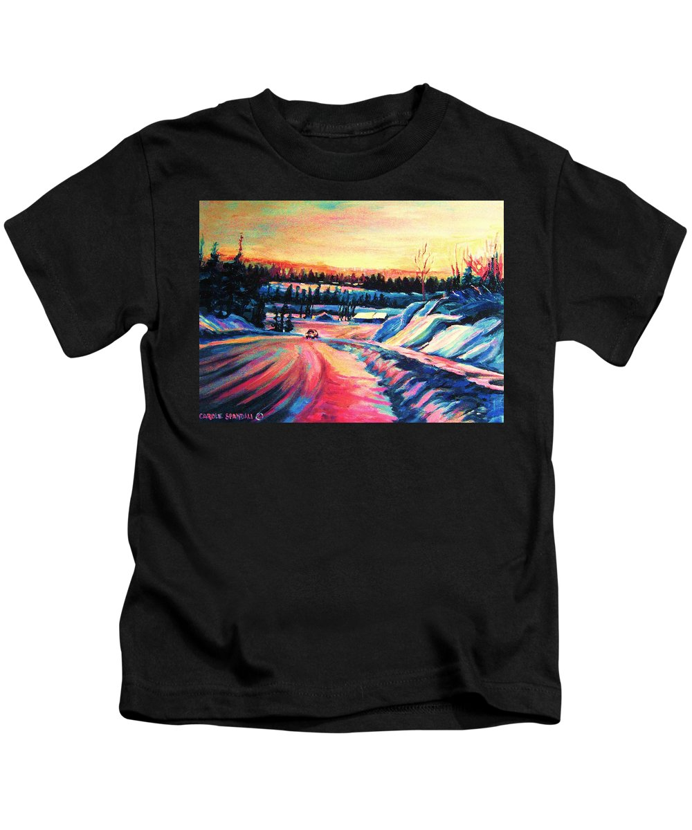 Winterscene Kids T-Shirt featuring the painting Going Places by Carole Spandau