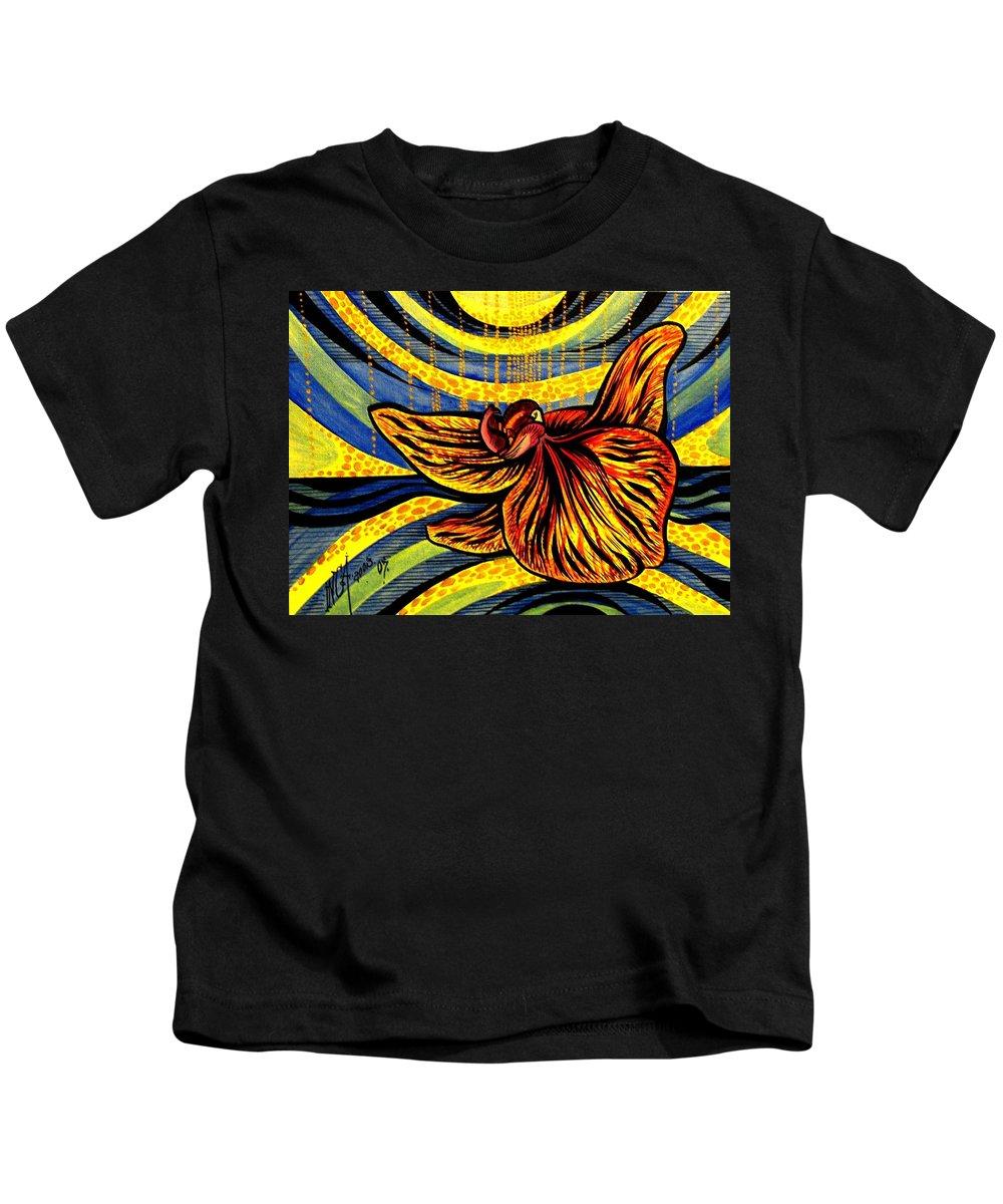 Inga Vereshchagina Kids T-Shirt featuring the painting Gold Orchid by Inga Vereshchagina