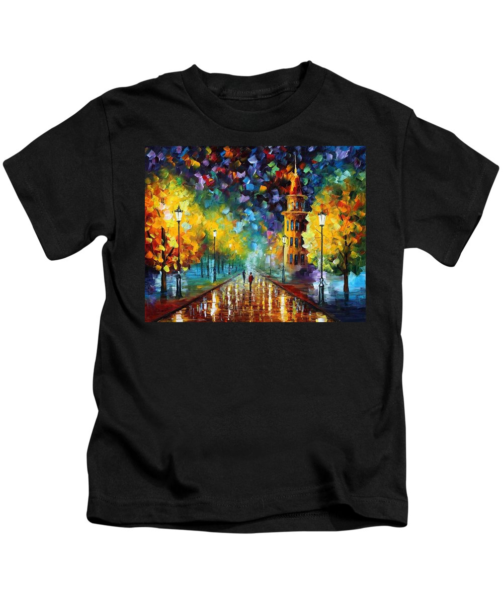 Afremov Kids T-Shirt featuring the painting Gold Winter by Leonid Afremov