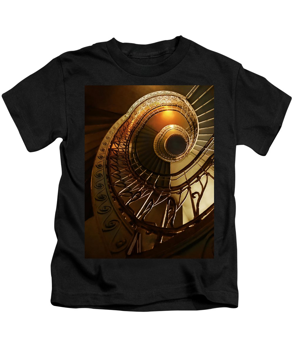 Staircase Kids T-Shirt featuring the photograph Golden And Brown Spiral Stairs by Jaroslaw Blaminsky