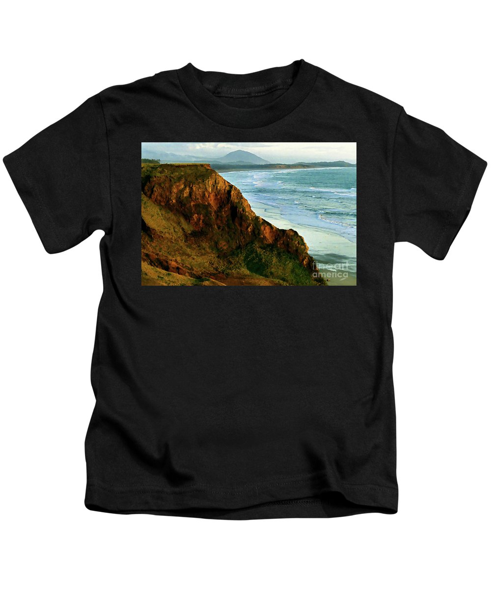 Gold Beach Kids T-Shirt featuring the painting Golden Beach Cliff Side Painterly by Peter Piatt