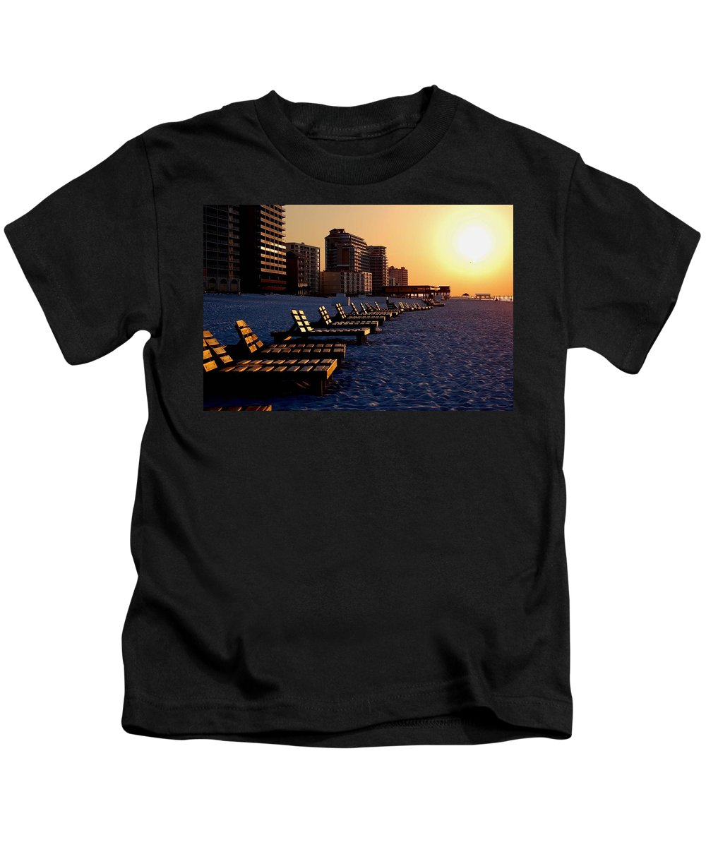 Beach Kids T-Shirt featuring the painting Golden Benches by Michael Thomas