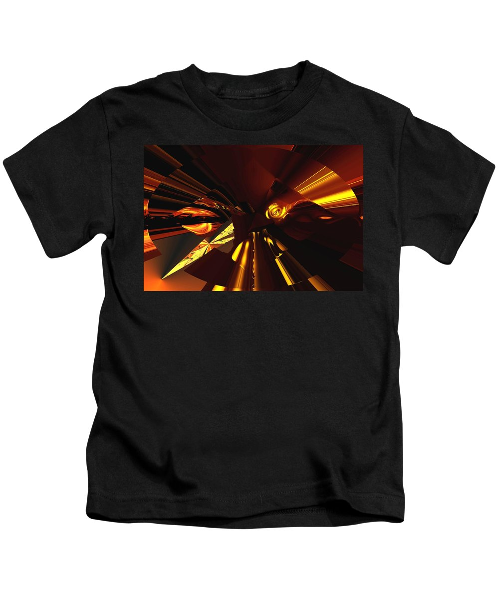 Abstract Kids T-Shirt featuring the digital art Golden Brown Abstract by David Lane