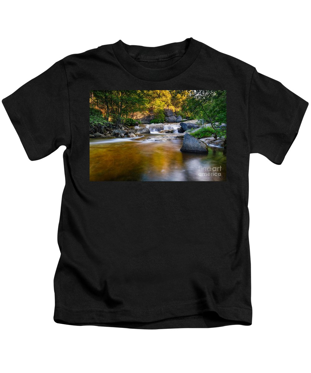 Sierras Kids T-Shirt featuring the photograph Golden Calm by Anthony Bonafede