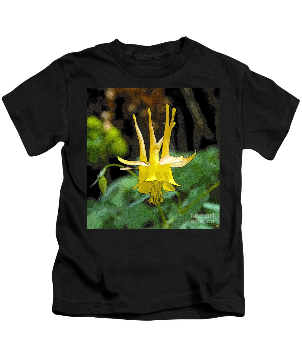 Art Kids T-Shirt featuring the painting Golden Columbine by David Lee Thompson