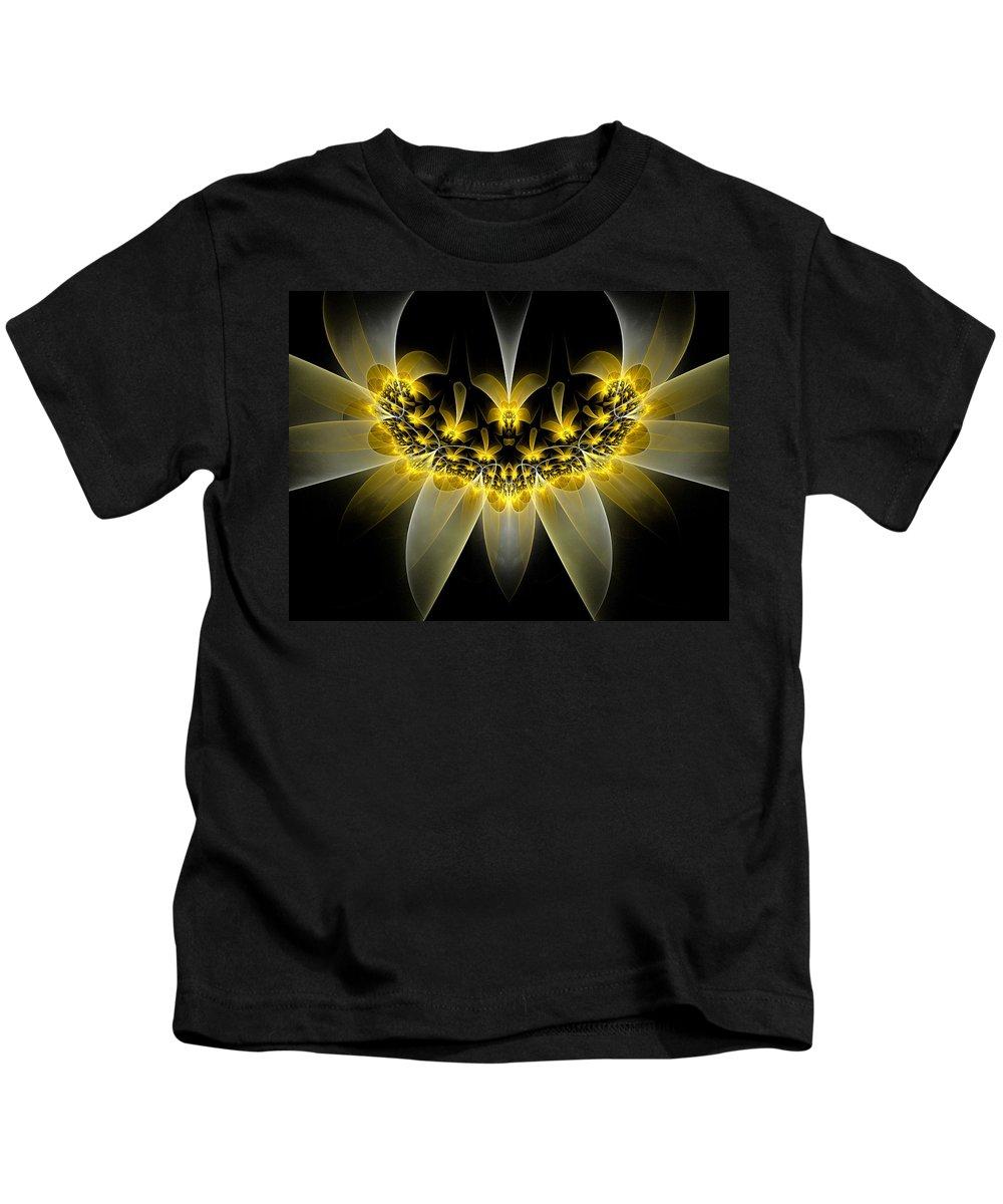 Fractal Kids T-Shirt featuring the digital art Golden Daffodils by Amorina Ashton