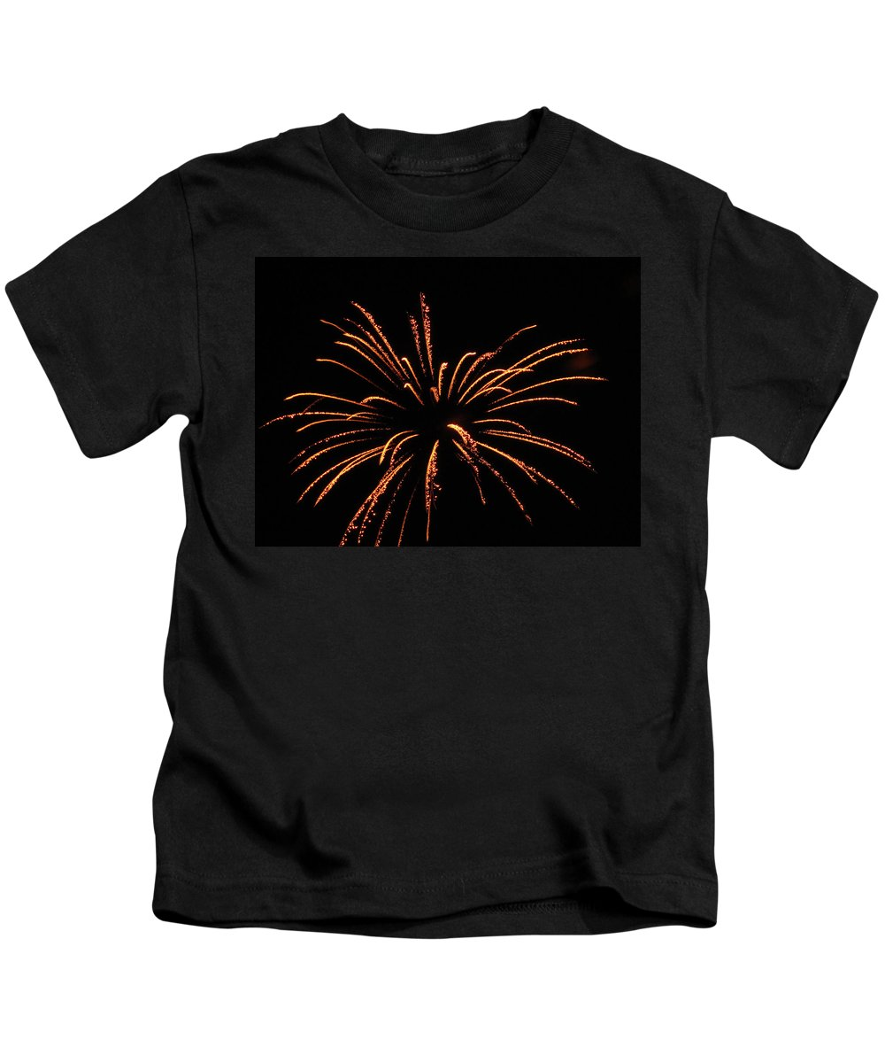 Golden Fireworks 2 Kids T-Shirt featuring the photograph Golden Fireworks 2 by Cynthia Woods