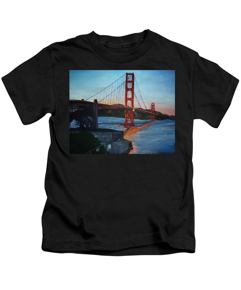 San Francisco Kids T-Shirt featuring the painting Golden Gate by Travis Day