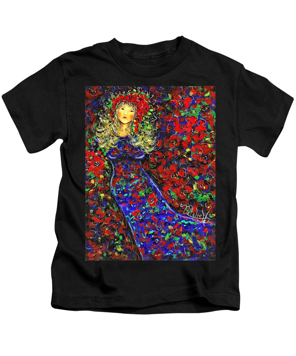 Woman Kids T-Shirt featuring the painting Golden Girl by Natalie Holland