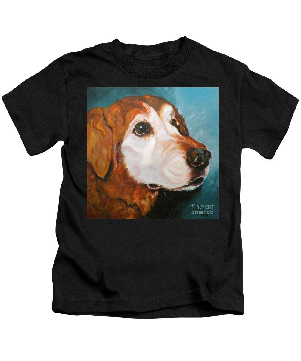 Dogs Kids T-Shirt featuring the painting Golden Grandpa by Susan A Becker