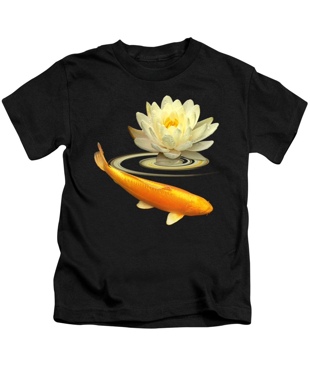 Fish Kids T-Shirt featuring the photograph Golden Harmony Square by Gill Billington