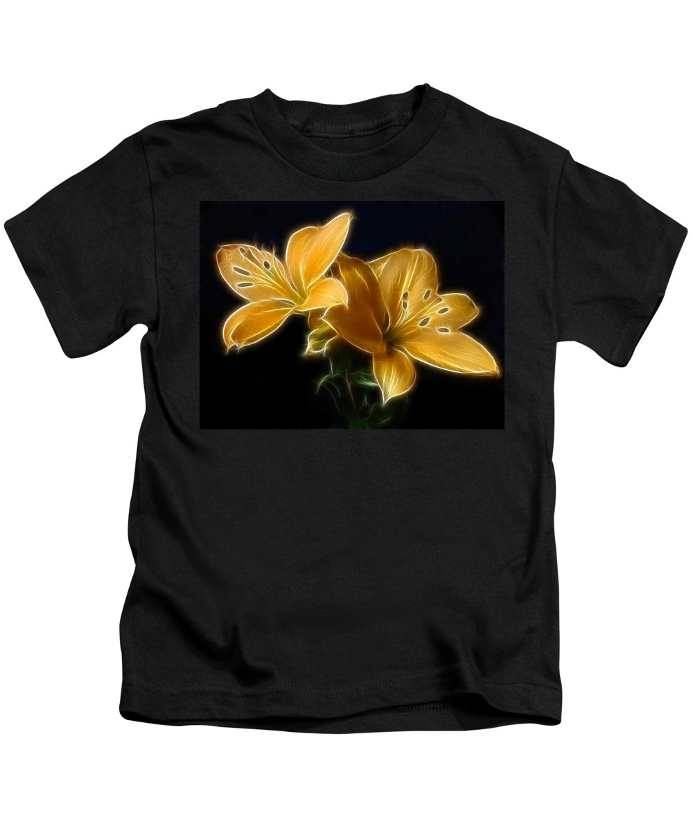 Lilies Kids T-Shirt featuring the digital art Golden Lilies by Sandy Keeton