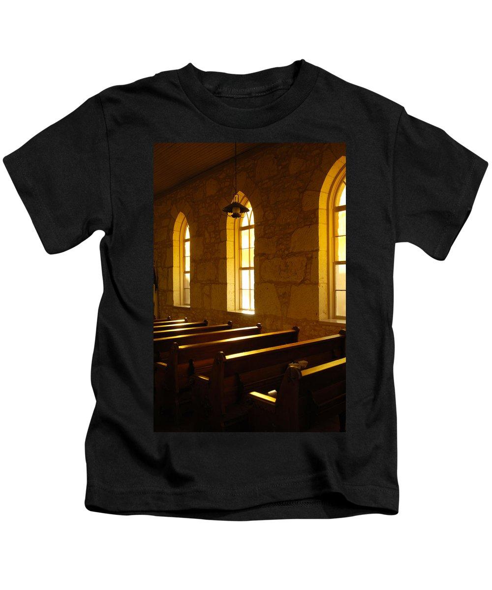 Worship Kids T-Shirt featuring the photograph Golden Pews by Jill Reger