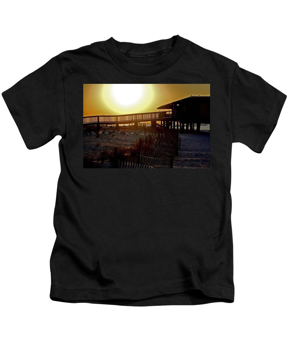 Beach Kids T-Shirt featuring the painting Golden Slats by Michael Thomas