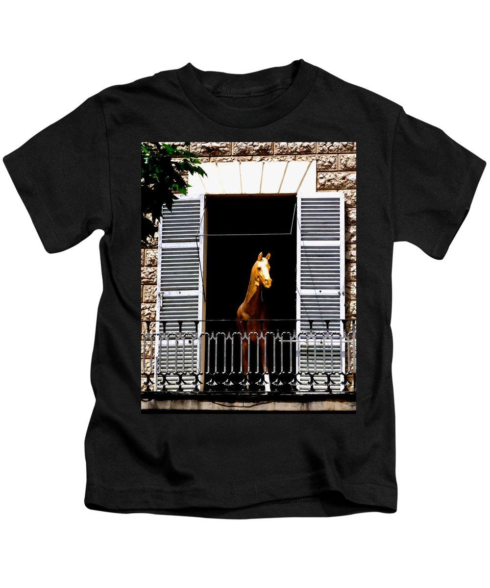 Horse Kids T-Shirt featuring the photograph Golden Stallian by Charles Stuart
