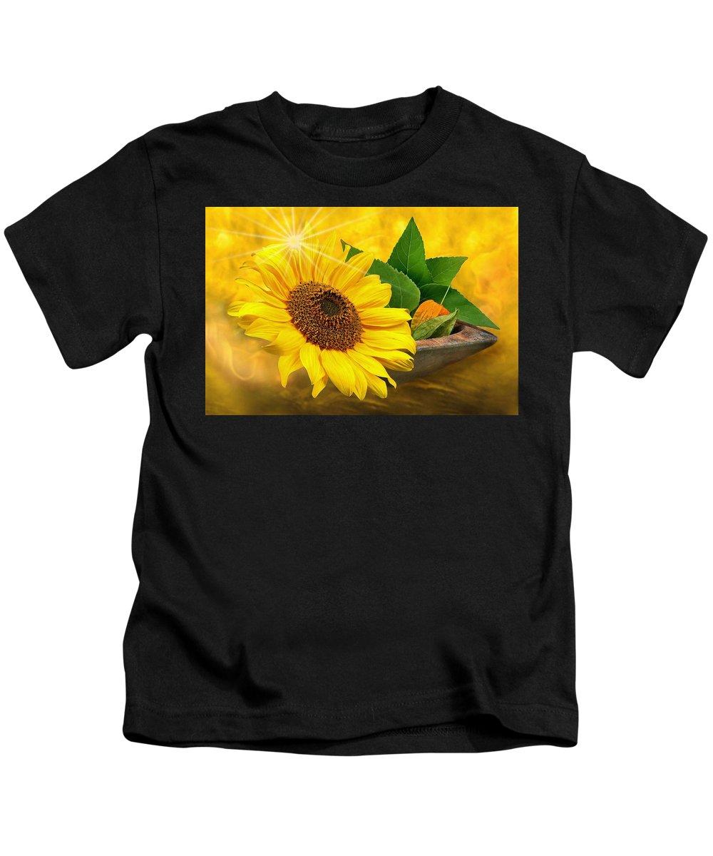 Sun Kids T-Shirt featuring the photograph Golden Sunflower by Manfred Lutzius