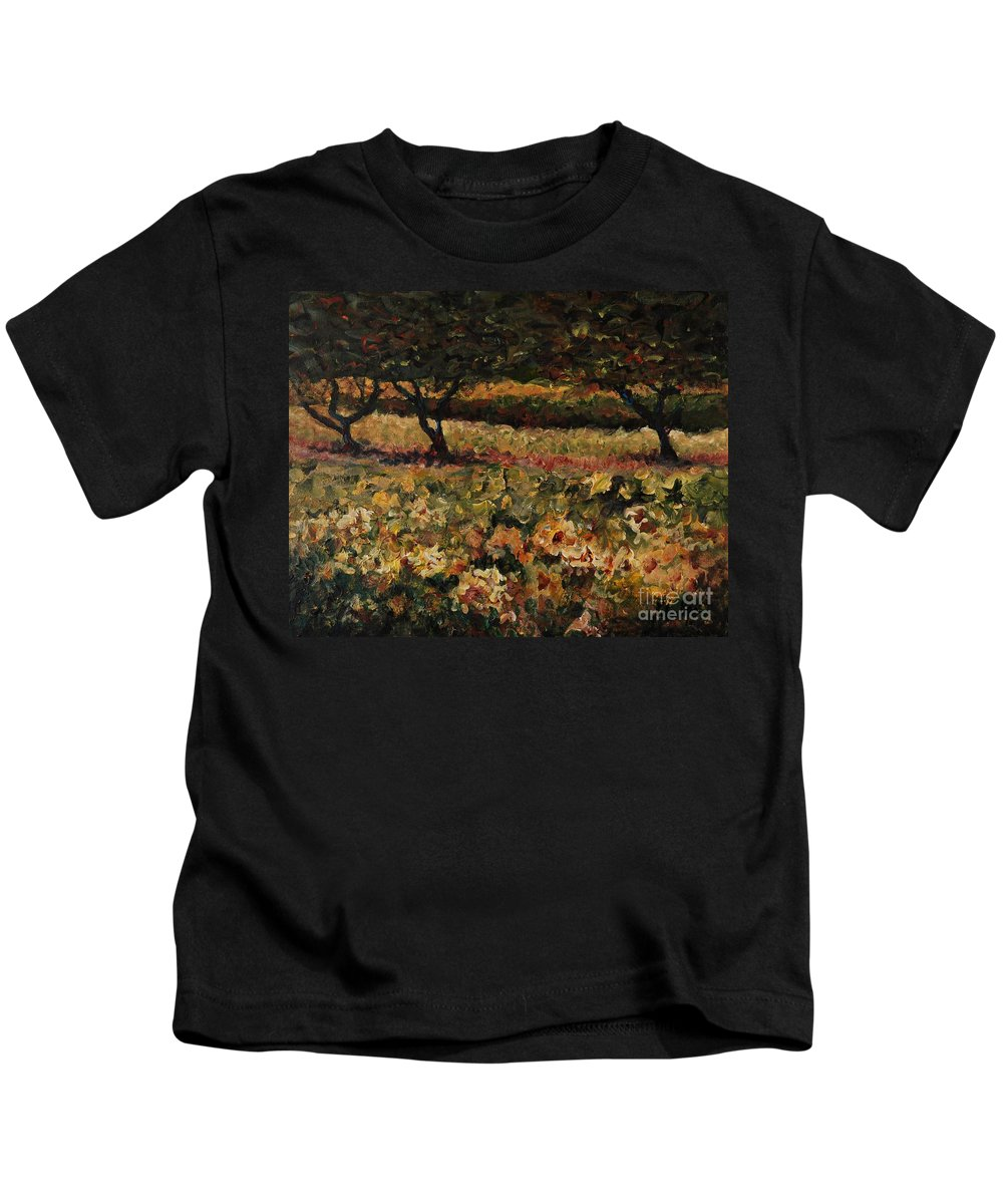 Landscape Kids T-Shirt featuring the painting Golden Sunflowers by Nadine Rippelmeyer