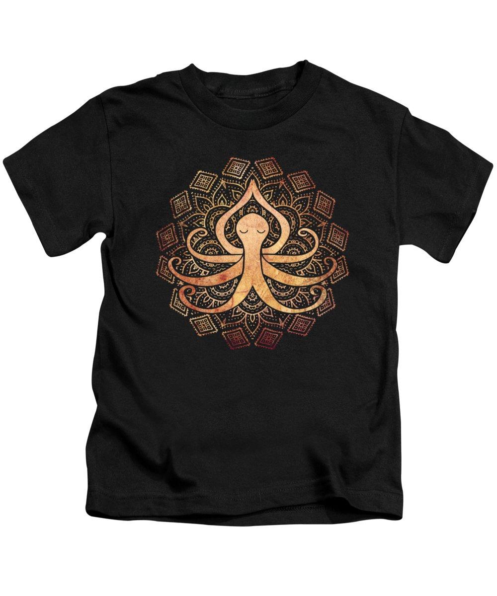 Octopus Kids T-Shirt featuring the digital art Golden Zen Octopus Meditating by Laura Ostrowski