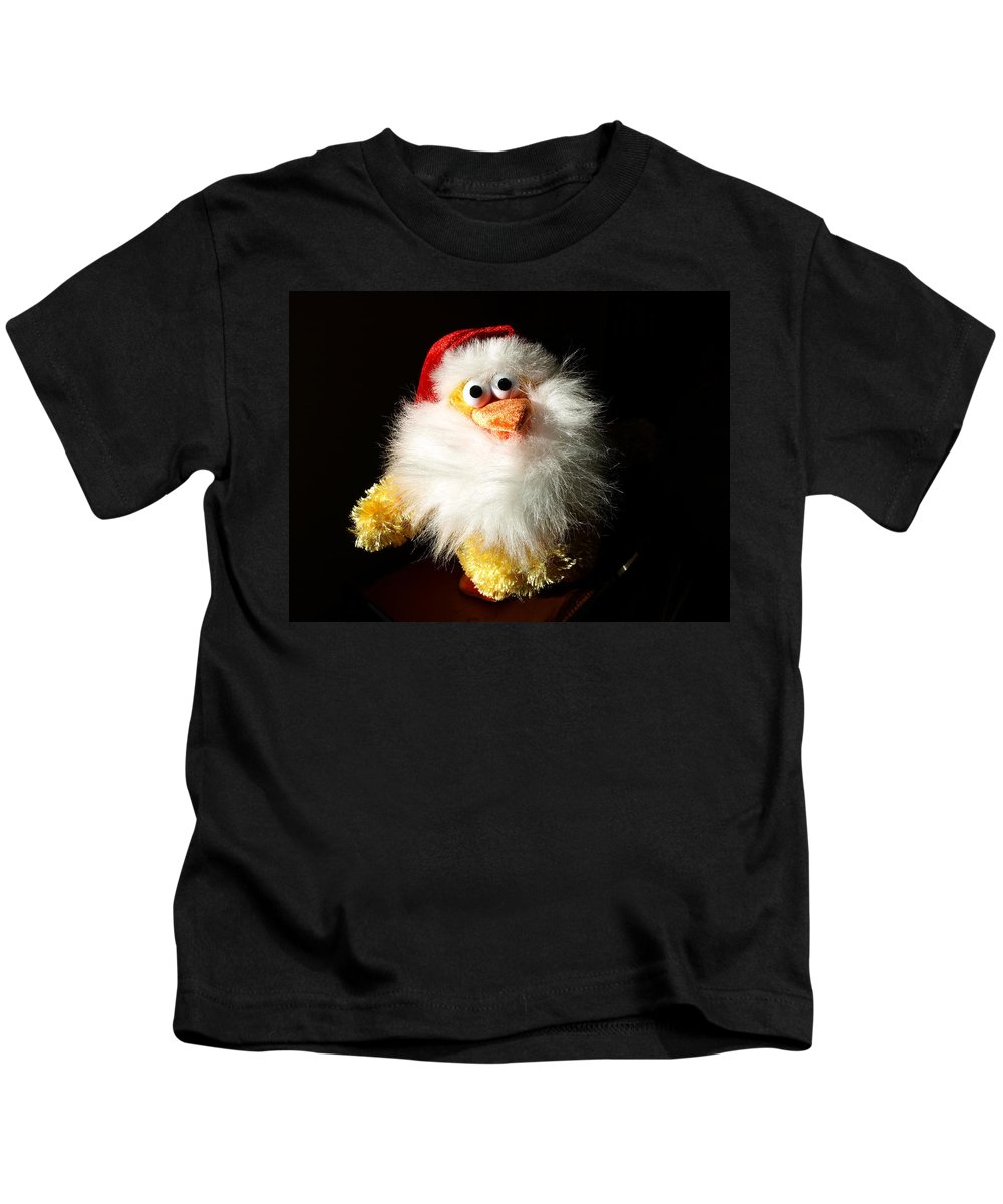 Evil; Good; Chicken; Bird; Stuffed; Animal; Fowl; Christmas; Beard; Hat; Bad; Sunshine; Barnyard; Du Kids T-Shirt featuring the photograph Good Chicken by Allan Hughes