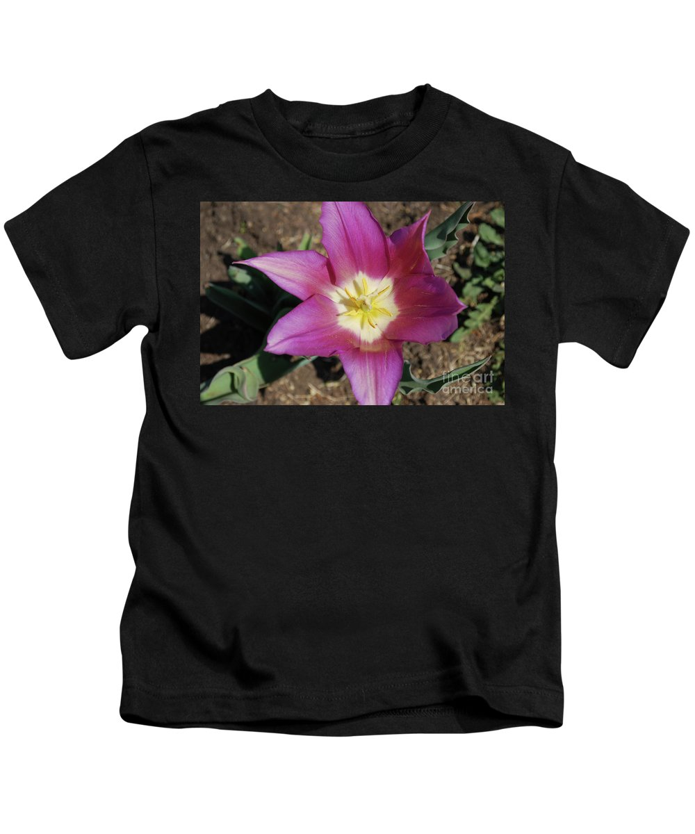 Tulip Kids T-Shirt featuring the photograph Gorgeous Light Purple Tulip With Yellow Stamen by DejaVu Designs