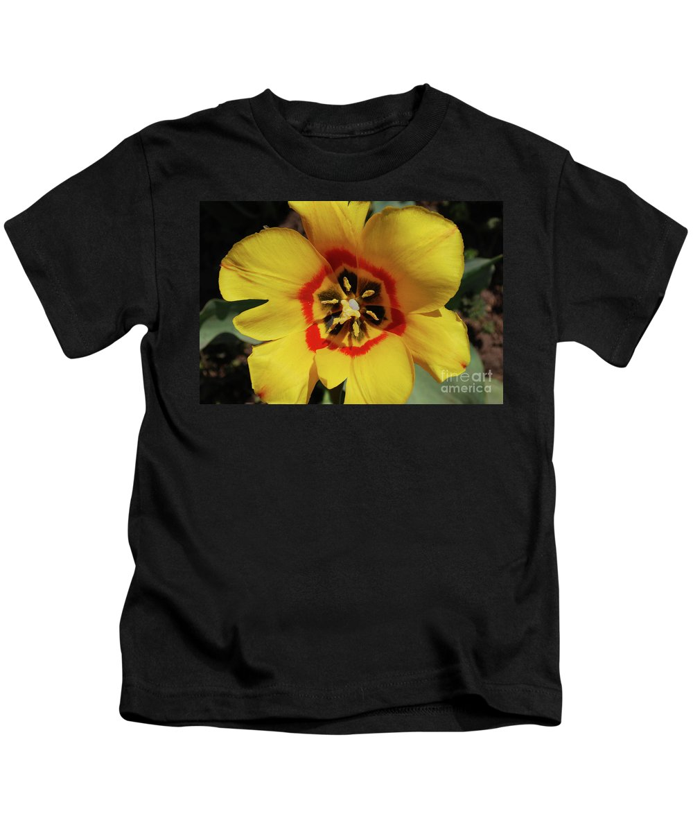 Tulip Kids T-Shirt featuring the photograph Gorgeous Look At The Center Of A Yellow Tulip by DejaVu Designs