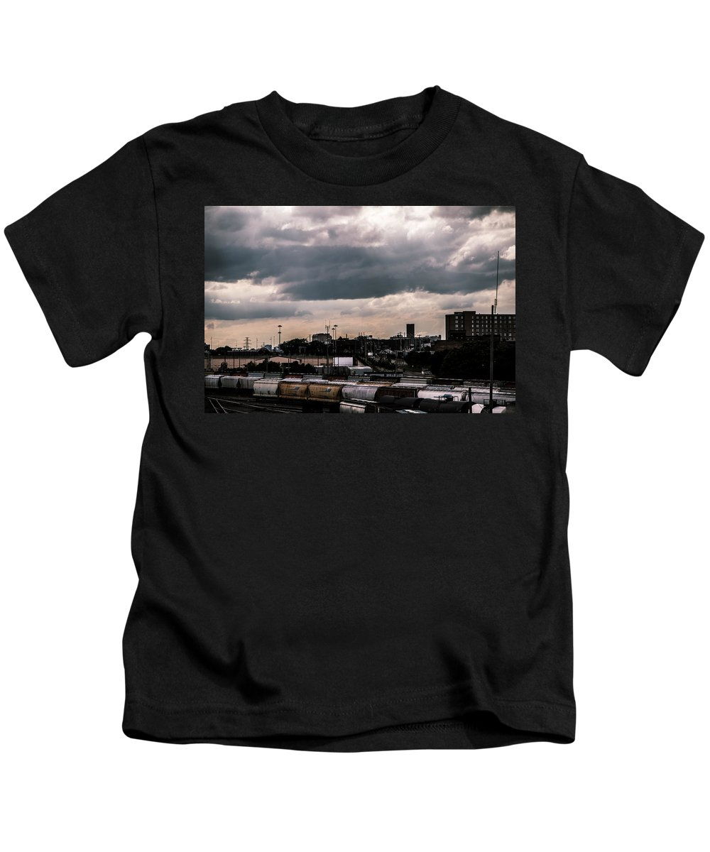 Clouds Kids T-Shirt featuring the photograph Gotham City by Aedon Colino