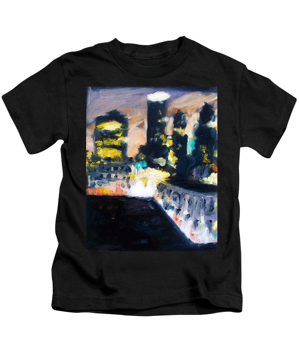 Des Moines Kids T-Shirt featuring the painting Gotham by Robert Reeves