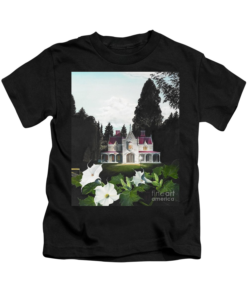 Fantasy Kids T-Shirt featuring the painting Gothic Country House detail from Night Bridge by Melissa A Benson