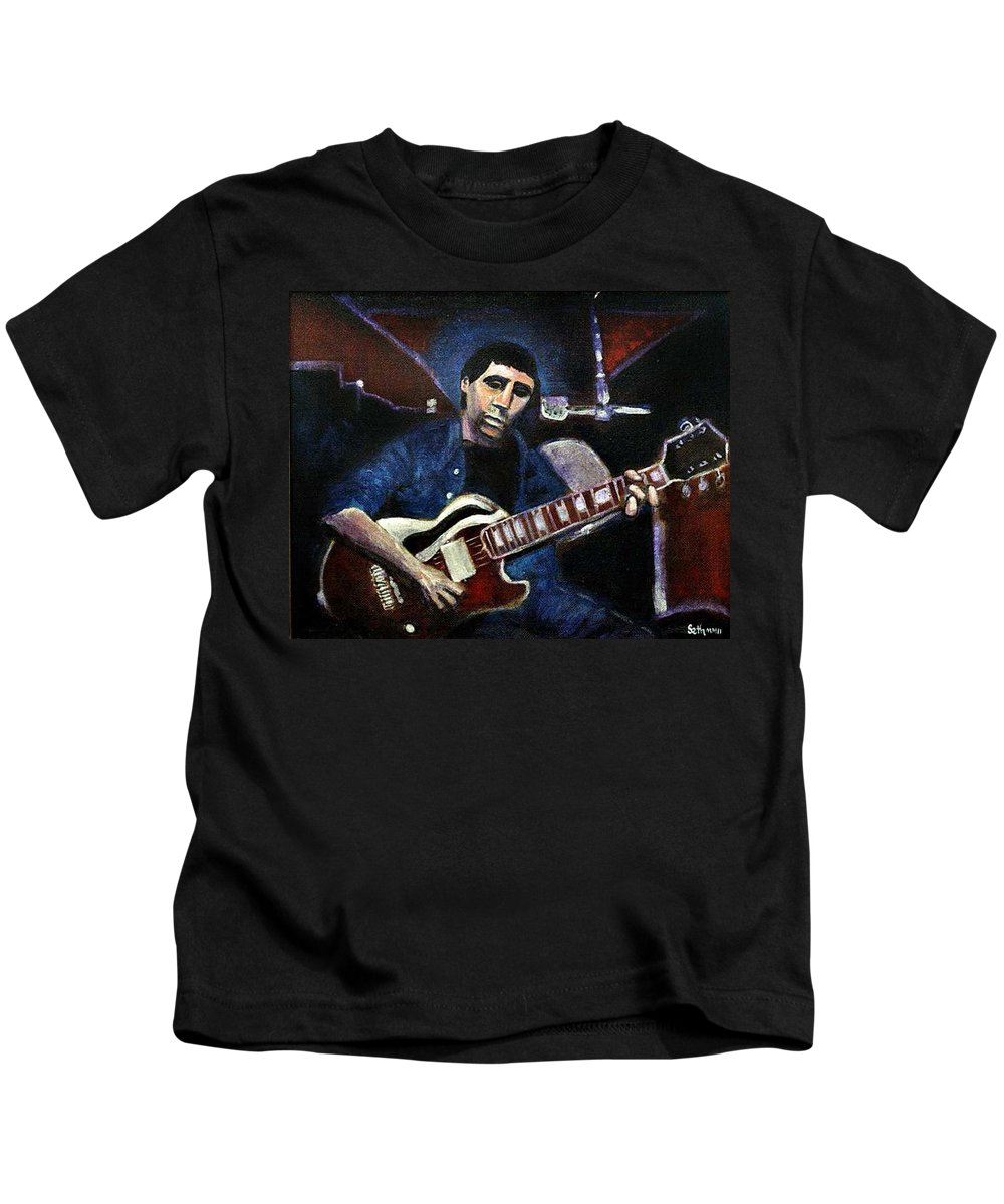 Shining Guitar Kids T-Shirt featuring the painting Graceland Tribute To Paul Simon by Seth Weaver