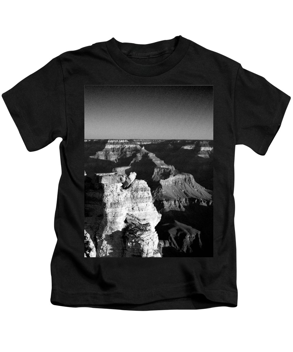 Grand Canyon Kids T-Shirt featuring the photograph Grand Canyon Black And White by Joshua House