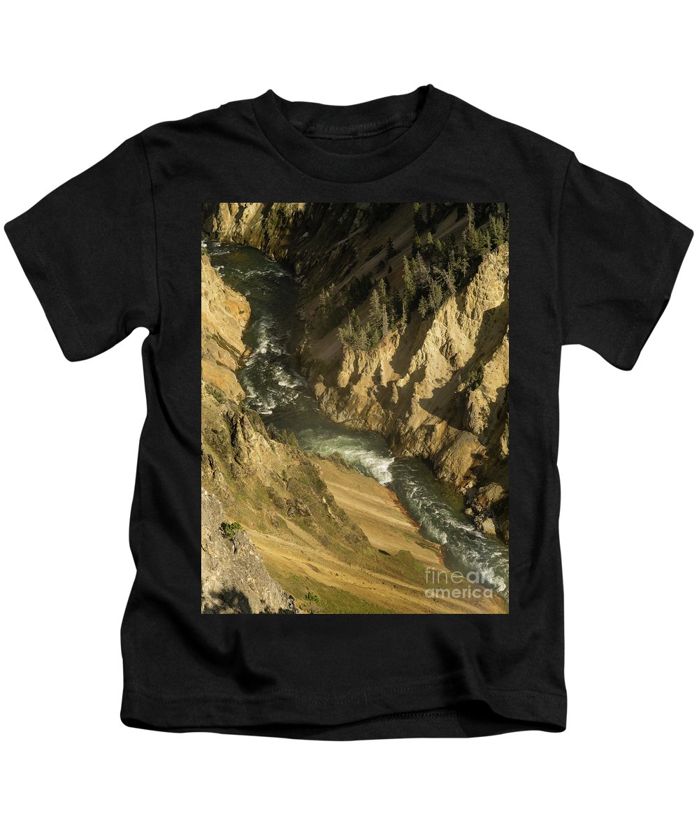 Wyoming Kids T-Shirt featuring the photograph Grand Canyon Of The Yellowstone by Tracy Knauer