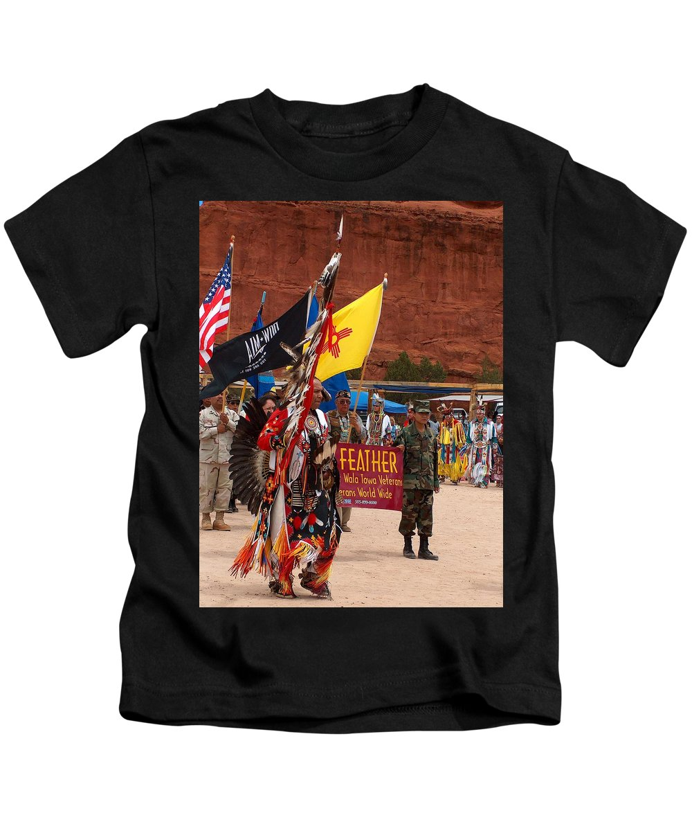 Pow-wow Kids T-Shirt featuring the photograph Grand Entry At Star Feather Pow-wow by Tim McCarthy