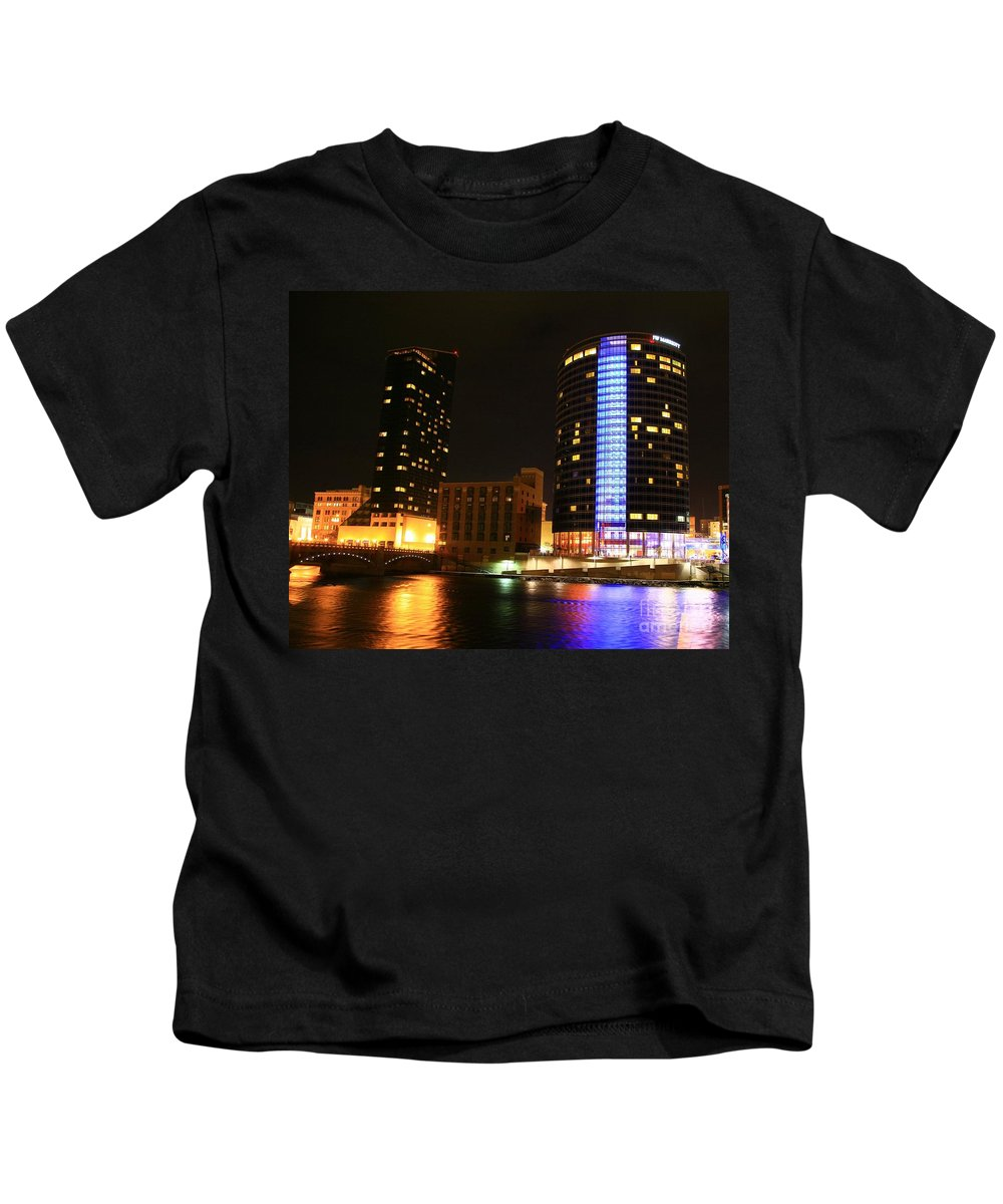 Grand Rapids Mi City Scapes Kids T-Shirt featuring the photograph Grand Rapids Mi Under The Lights-4 by Robert Pearson