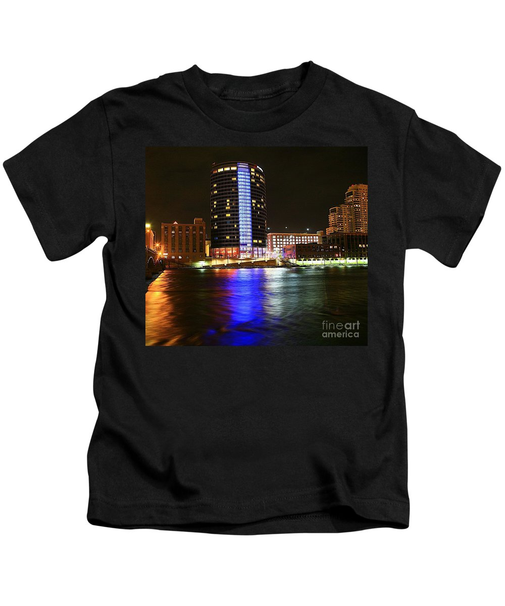 Grand Rapids Mi City Scapes Kids T-Shirt featuring the photograph Grand Rapids Mi Under The Lights-6 by Robert Pearson