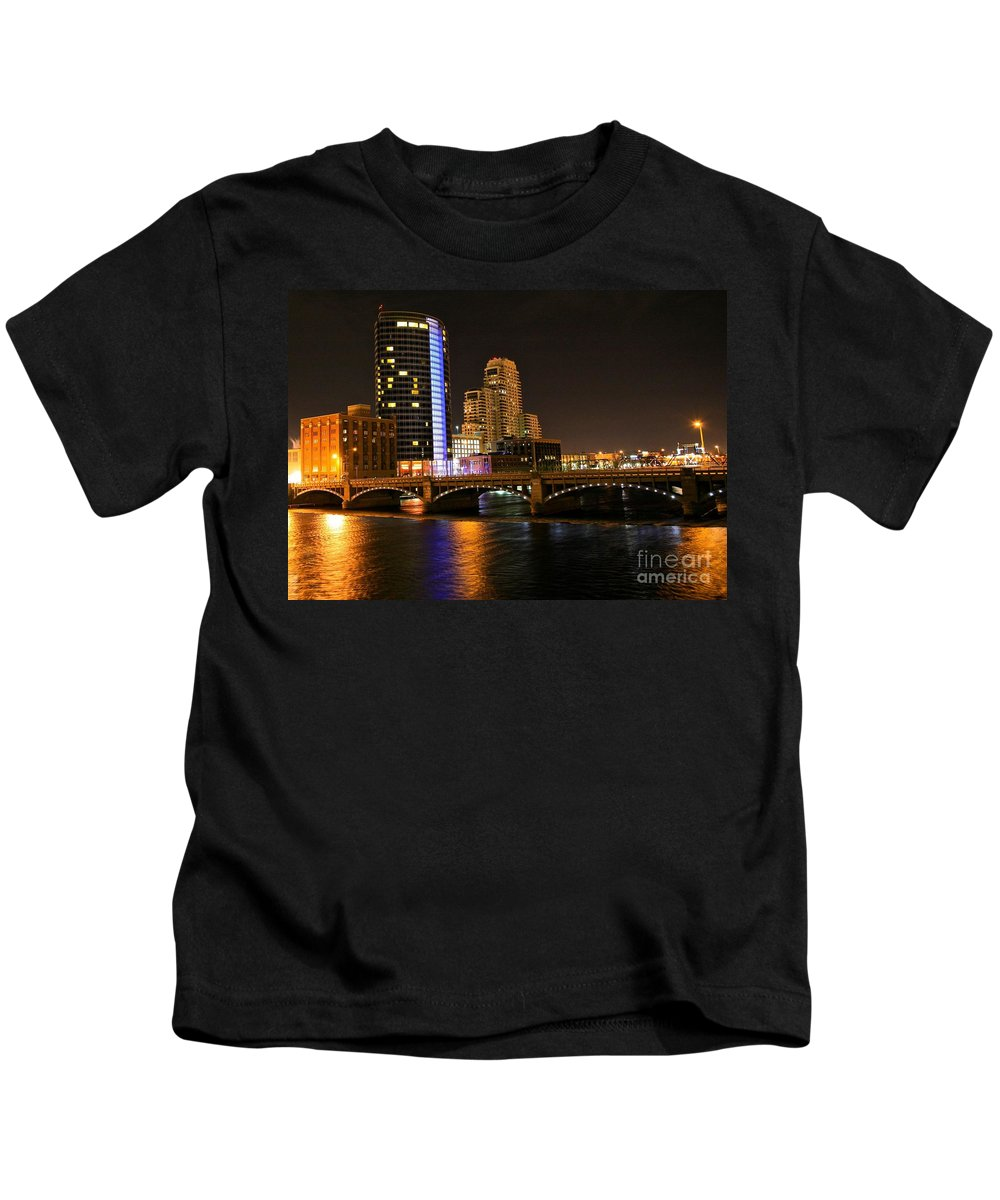 Tags:  West Michigan Photographs Kids T-Shirt featuring the photograph Grand Rapids Mi Under The Lights by Robert Pearson
